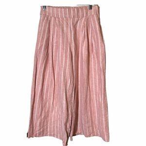 Gap Pink Striped Wide Leg Gaucho Pants Capris 4